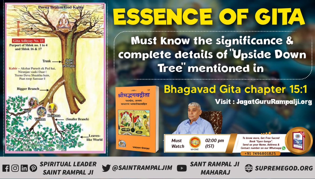 To know the significance of the upside down tree mentioned in Srimad Bhagavad Gita Chapter 15:1 Must visit  Satlok Ashram YouTube Channel Or watch Mh1 Shraddha Tv at 02:00 pm (IST). #thursdaymorning #GodMorningThursday  #HiddenTruthOfGita