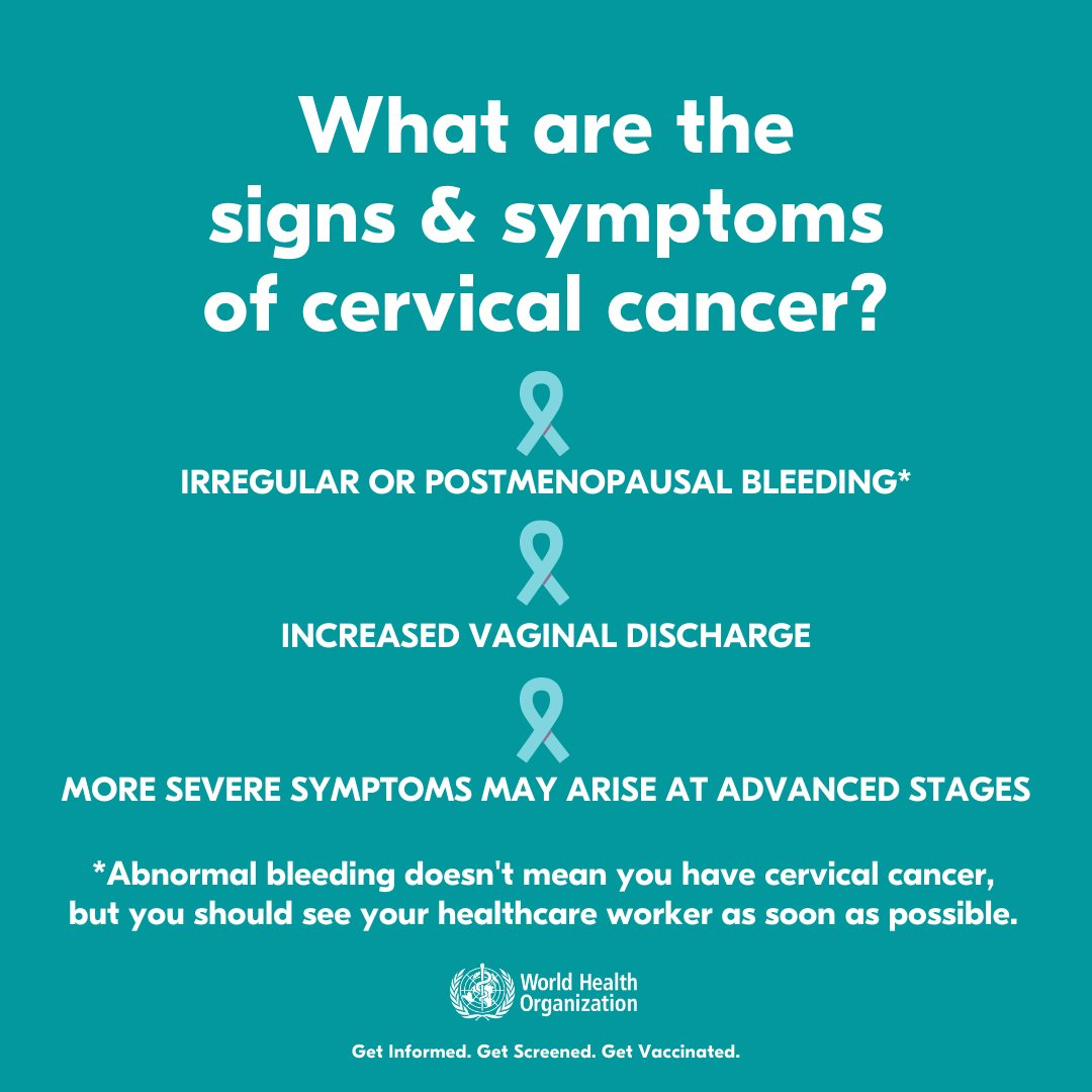 Signs of #CervicalCancer include  🚨Irregular or postmenopausal bleeding 🚨Increased vaginal discharge  & more severe symptoms may arise at advanced stages.  👉
