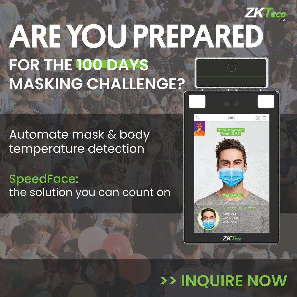 ZKTeco USA has a variety of #Touchless #SecuritySolutions to match your project needs & budget. Automate your mask & body temperature detection and expect a quick return on investment! Inquire now: https://t.co/a715mEAZgj #MaskingChallenge #TechInnovation #SecurityInnovation https://t.co/DR49tqbZtg
