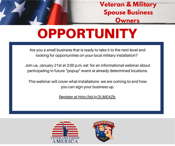 """Join us TODAY at 2:00est with @veteransgrowamerica. We will be discussing upcoming """"pop up"""" events and how your and your business can take part in these events.   Visit  to register and receive call info.   #militaryspouseowned #miitaryowned #rosieslist"""