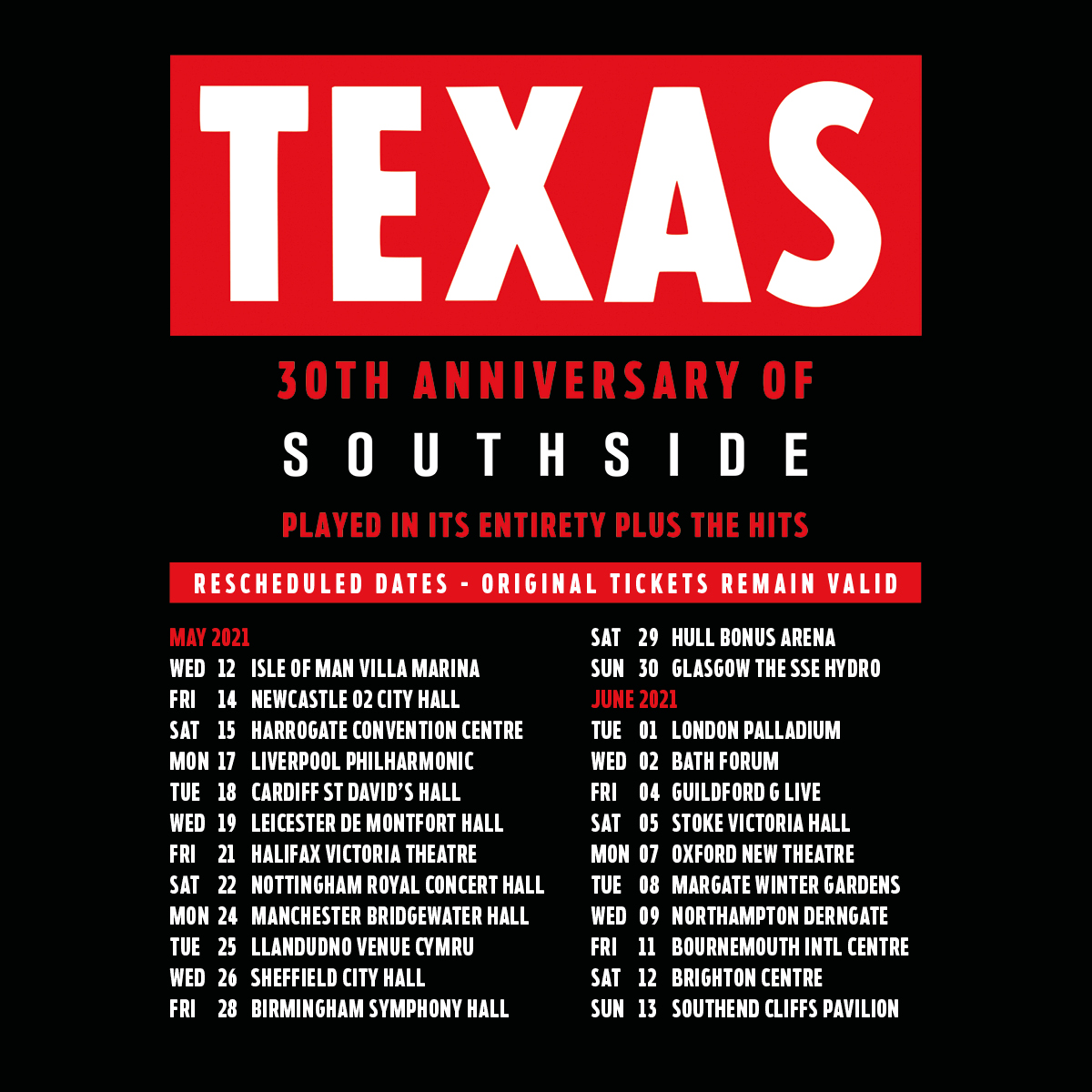 Scottish pop rock band Texas have rescheduled their 30th anniversary of Southside UK tour to May & Jun 2021. See them in #Newcastle #Harrogate #Liverpool #Cardiff #Leicester #Halifax #Nottingham #Manchester & more  🎟️