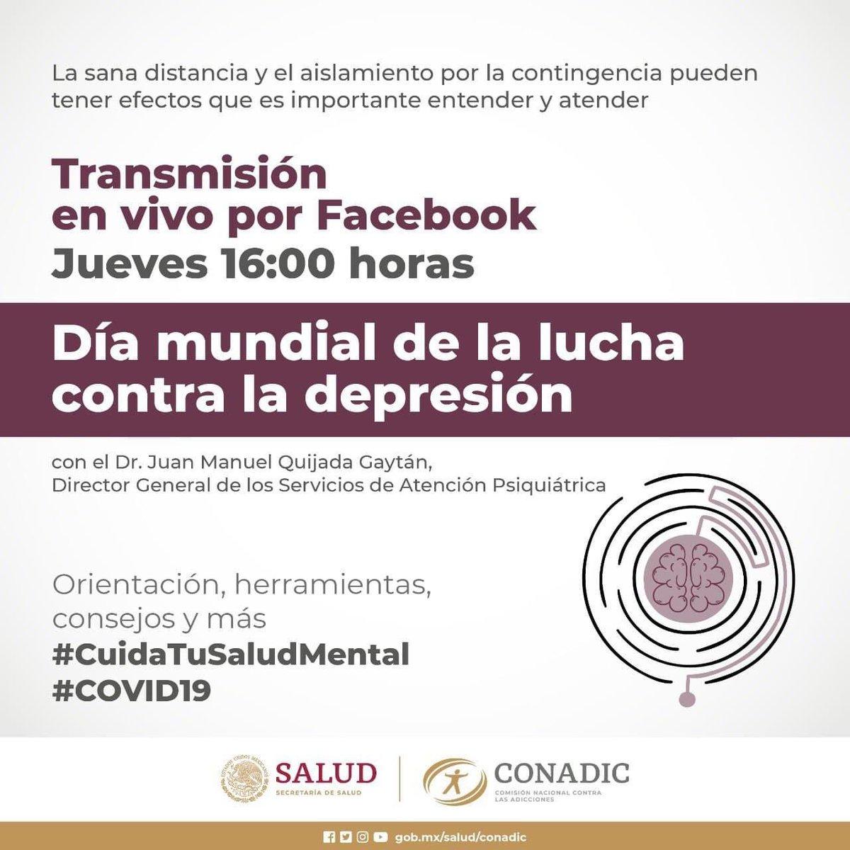 Hoy jueves 21 a las 3:00 pm (Sonora) en vivo por Facebook de Conadic MX se trasmitirá el tema: Día Mundial de la Lucha Contra la Depresión por el Dr. Juan Manuel Quijada Gaytán.  #CuidaTuSaludMental   @UNEMECAPACajeme @CapaSonora @CONADICmx https://t.co/AaCaq43aVY