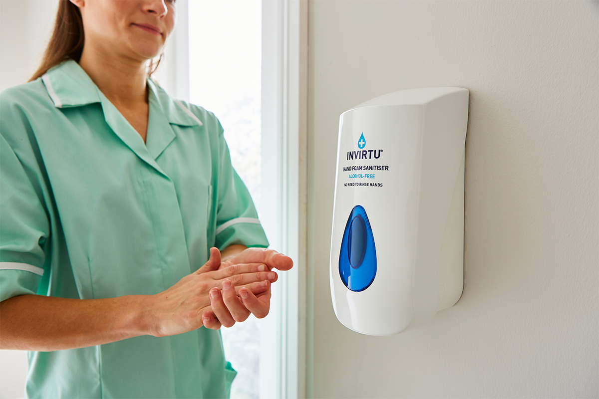 Protect your staff and visitors from enveloped viruses by choosing #INVIRTU for regular hand disinfection! Available in a variety of sizes, it can be attached to the wall, or kept in a pocket for handy access.  #infectioncontrol #envelopedviruses #animalhealth #handsanitiser