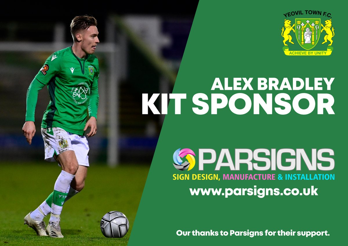 We are pleased to announce @ParSigns have kindly sponsored the kit of @ALEXBRADLEY99  for this season.  Thank you for your continued support.  #YTFC 💚