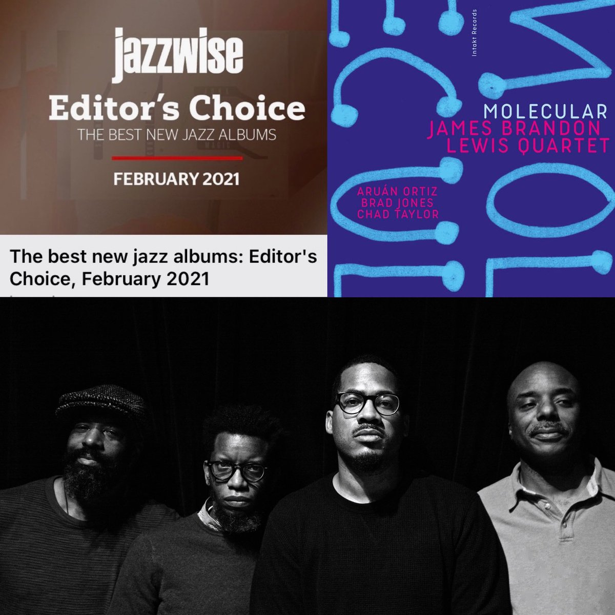 Molecular named Best New Jazz for the Month of February / Check out @jazzwisemagazine Editor's Choice ! Molecular Out Now @intakt_records @bandcamp Featuring : Aruan Ortiz, Chad Taylor , Brad Jones ,music #jazz #nofilter #music #jazz #news #best #magazine #quartet #press
