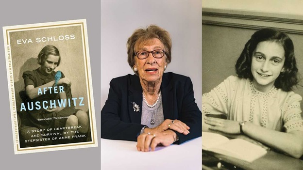 A triptych. Far left is the bookcover of 'After Auschwitz' by Eva Schloss, 'A story of heartbreak and survivial by the stepsister of Anne Frank.' On the cover is a black and white photograph of a young girl holding a blue-coloured bird on her hand. The centre image is an older woman in mid-speech, Eva Schloss. On the right is a black and white photo of a young girl with dark hair, Anne Frank.