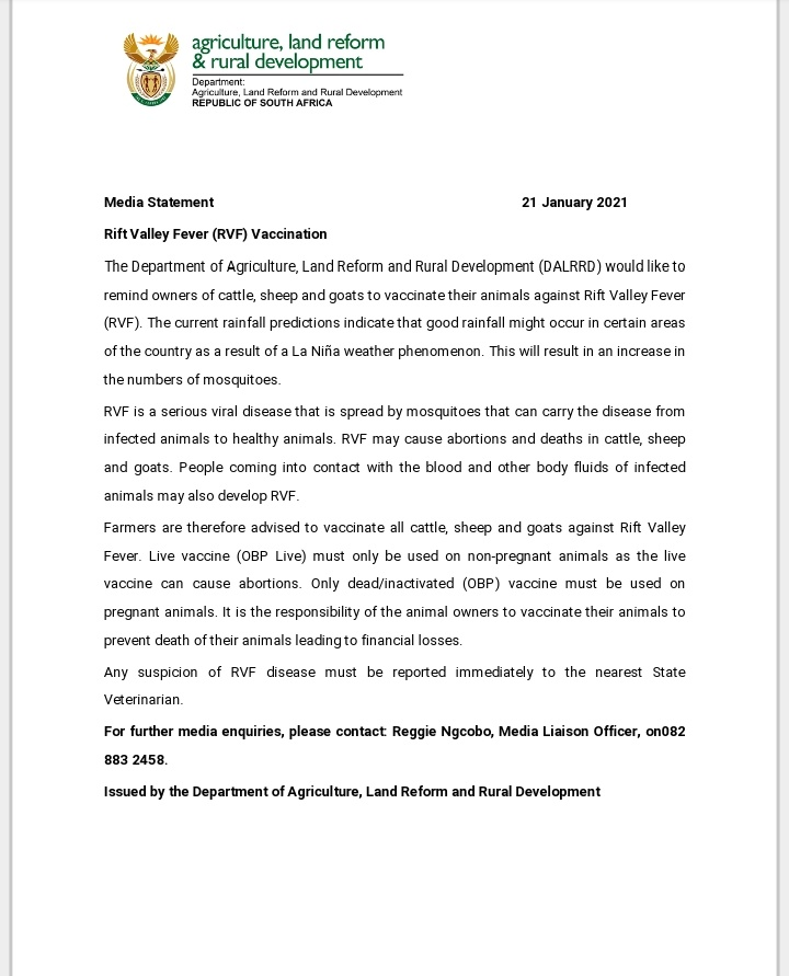 [MEDIA STATEMENT] The Department would like to remind owners of cattle, sheep and goat to vaccinate the animals against Rift Valley Fever. @GCISMedia @SAgovnews @GovernmentZA @VukuzenzeleNews @obpvaccines @ARCSouthAfrica #AnimalHealth #RVF