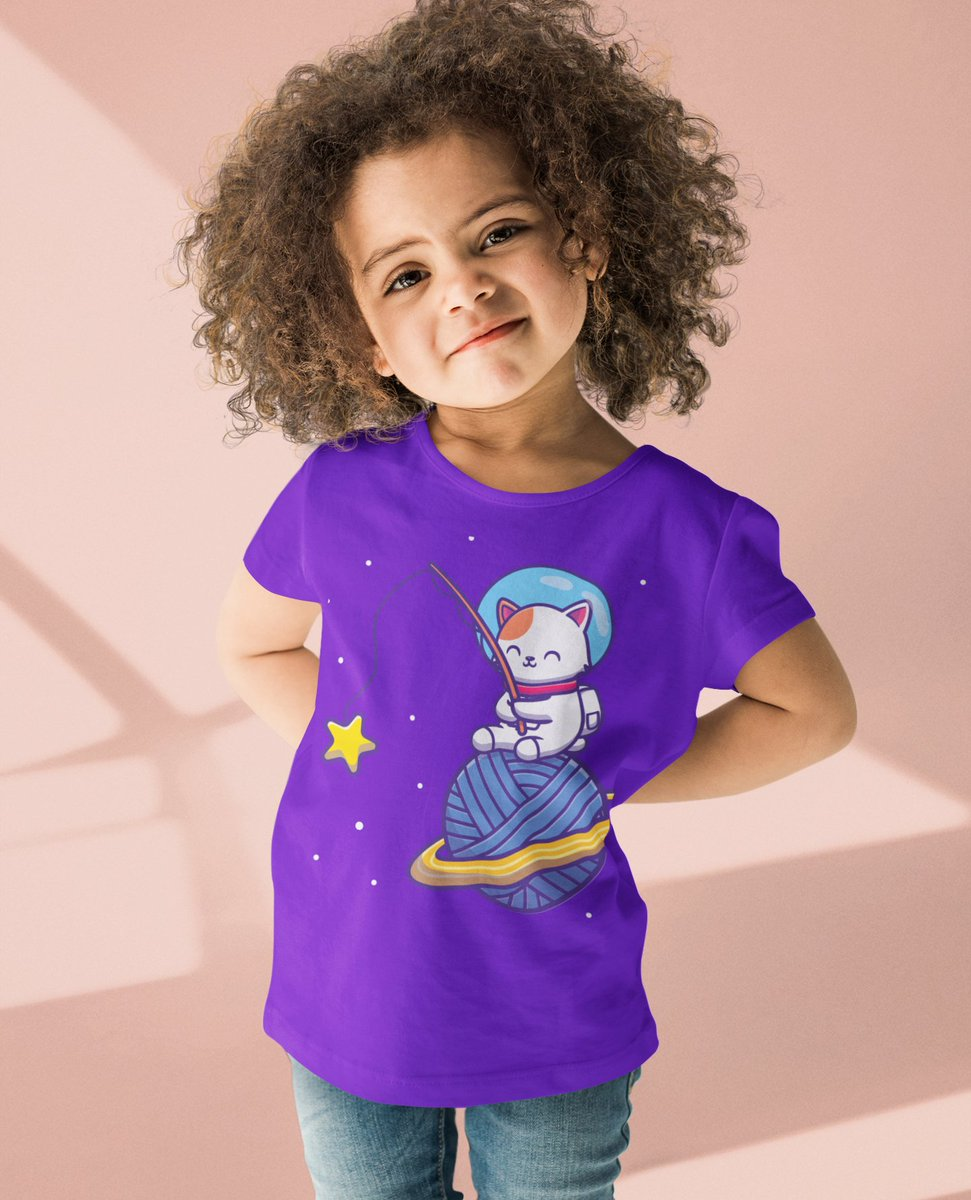 💟 We love her look!💟 Only Online! 🧞 Yarn Moon Cat Comfy Cotton T-Shirt 👾   #love #fashion #happy #style #fun #friends #ootd #picoftheday #beautiful #losangeles #sandiego #sanfrancisco #cali #la  #children #family #kidsfashion #momlife #cute #parenting
