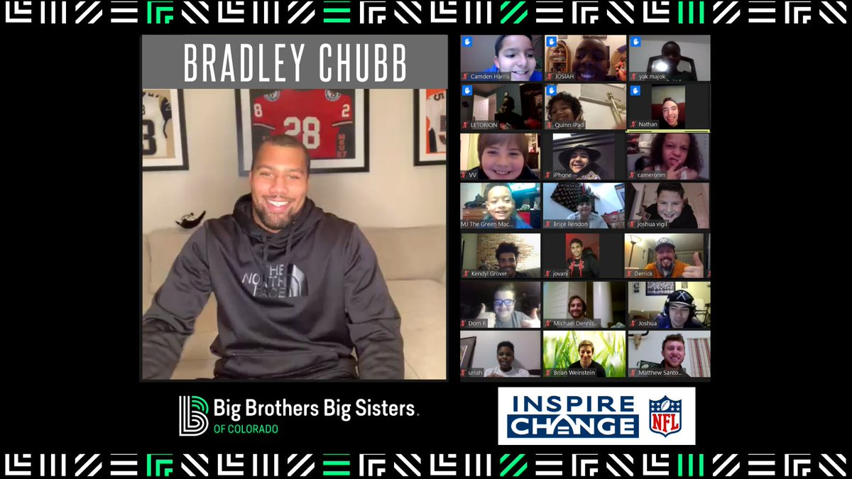 Last night Bradley Chubb hosted our largest virtual match event with 60 Sports Buddies matches!   Thank you @astronaut, @ChubbFoundation, @Broncos and @NFL for your support to BBBS to create positive change in our communities.  #InspireChange #NationalMentoringMonth