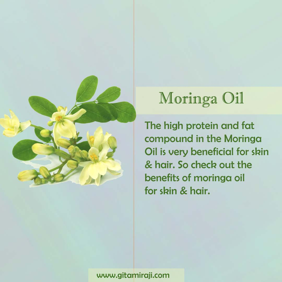 The high protein and fat compound in the Moringa Oil is very beneficial for skin & hair.   🤗Read more about Moringa Oil by clicking the link below🤗  ➡️Follow me @gitamiraji😉  #skin #hair #skincare #haircare #oil #hairoil #moingaoil #skincaretips #haircaretips