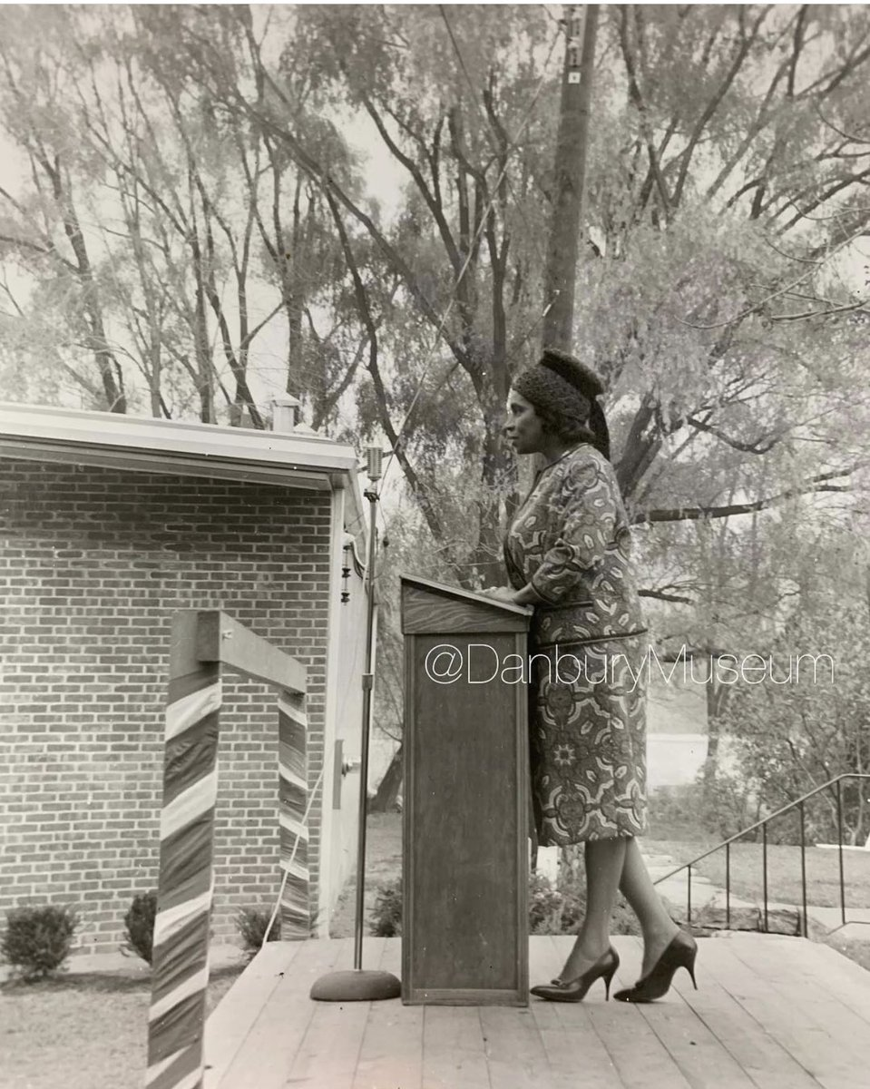 """We *love* sharing #HatPhoto images! One of the more fun files w/i our hatting photo collections is """"Famous People Wearing Hats."""" So if you'll indulge us w/ 3 favorites... 1st is famed contralto #MarianAnderson in 1963 dedicating our Huntington Hall. #HatCityHistory"""