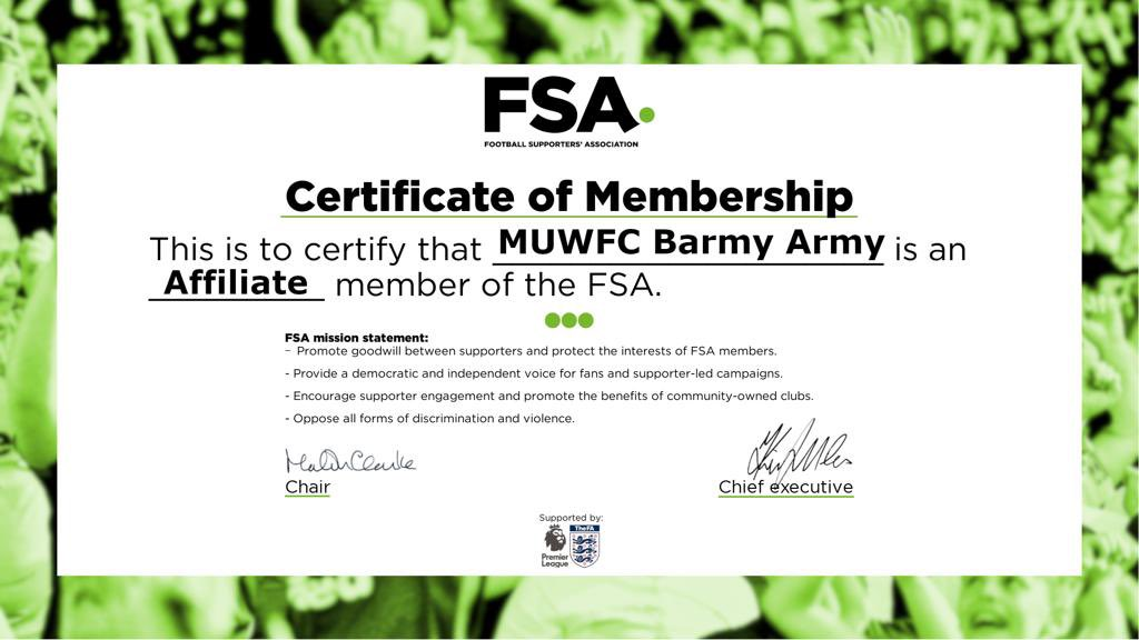 We're very proud to announce that we are now an Affiliate member of @WeAreTheFSA!  A big THANK YOU to all of our members for your continued support and participation.   We look forward to continuing to represent our members and fans as part of a growing network and community.