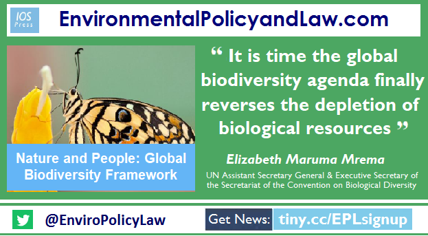 Only by bringing #nature to the centre of our existence can we galvanize global efforts to meet other challenges and achieve the #SDGs. The #post2020 framework holds the key to a better future for us all.  See my article in @EnviroPolicyLaw ➡️ https://t.co/MBRUmasHNf  #COP15 https://t.co/jrdHf02Ktw
