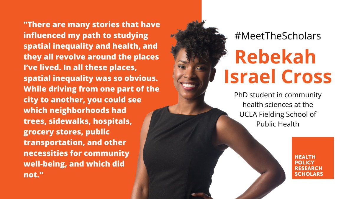 Meet @risraelcross a doctoral student  at @UCLAFSPH whose research involves measuring racism-related social determinants of health and aims to unpack the relationships between racism, neighborhoods, and health. #MeettheScholars