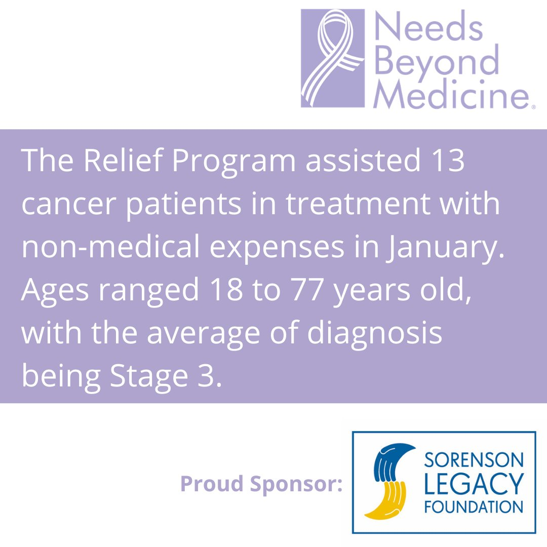 Off to a great start of 2021 with the #ReliefProgram and ability to assist current #cancerpatients. Please continue to #suppport us and our #mission. #cancer #nonmedicalexpenses #contribute #donate #NeedsBeyondMed