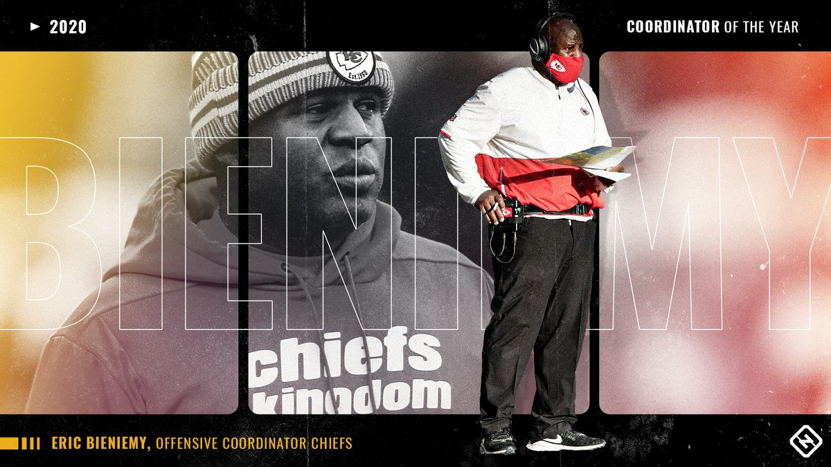 Congratulations to @Chiefs Offensive Coordinator Eric Bieniemy on being selected by coaches as the 𝙎𝙥𝙤𝙧𝙩𝙞𝙣𝙜 𝙉𝙚𝙬𝙨 𝘾𝙤𝙤𝙧𝙙𝙞𝙣𝙖𝙩𝙤𝙧 𝙤𝙛 𝙩𝙝𝙚 𝙔𝙚𝙖𝙧 🏆