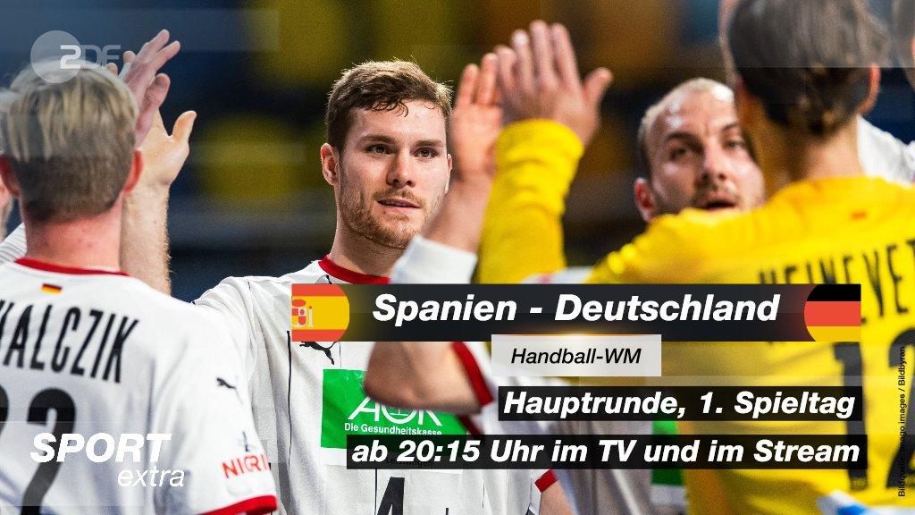 📺 Das @DHB_Teams startet gegen Spanien in die Hauptrunde der #Handballwm. Sehen könnt ihr die Partie ab 20:15 Uhr live im TV im @ZDF oder im Stream.  👉
