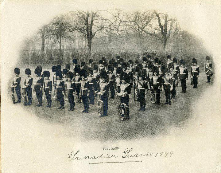 #ThrowbackThursday Standing proud on parade in the year 1899. Raising morale during the darkest hours of the World Wars and providing uplifting music to many ceremonial events, we can only hope to be bringing music to you all again soon! #FirstandFinest #BandoftheGrenadierGuards