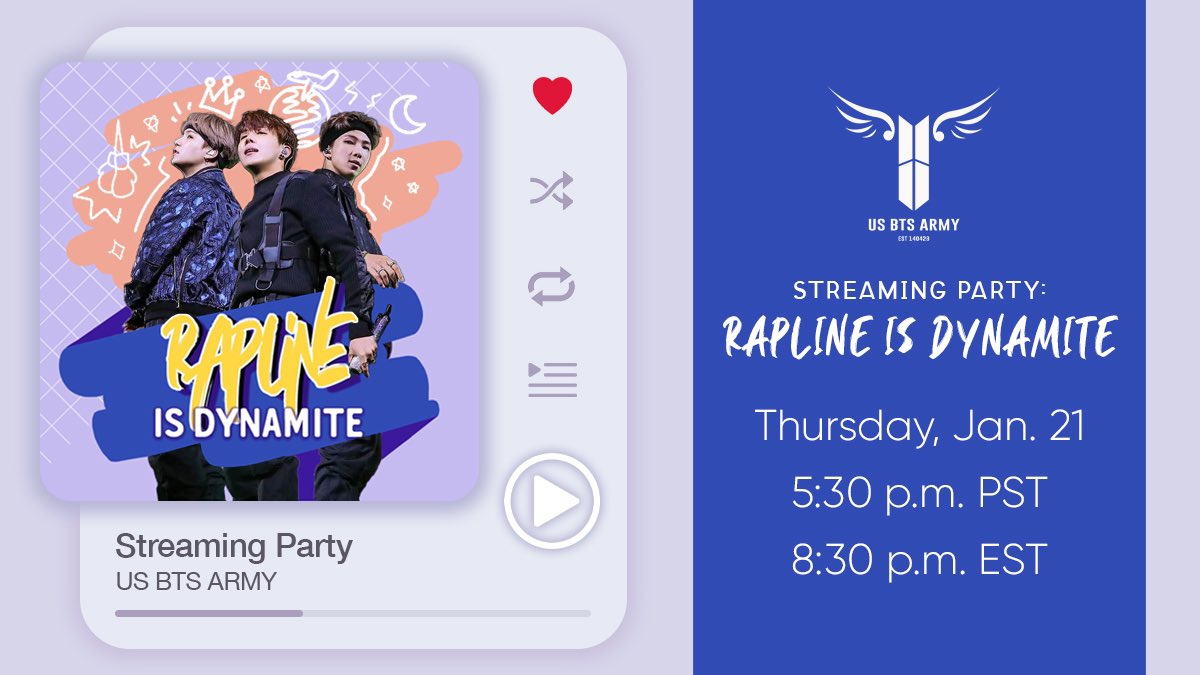 [🎧🥳] We're having the 1st in a series of #BTS_BE streaming parties today! 🎉  🗓Jan 21st: Rap Line Focus 🗓Jan 28th: Vocal Line Focus 🗓Feb 4th: OT7 Special  🎤 Did your Rap Line request make it to the list? Come join in & find out!  #RapLineIsDynamite #BTS #방탄소년단 @BTS_twt
