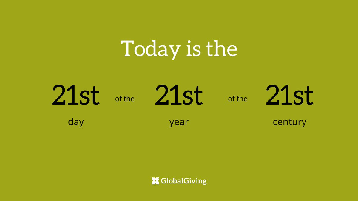 Today is the 21st day of the 21st year of the 21st century. 😲   Why not add to the numerical aesthetic and give $21 to the #Coronavirus Relief Fund? You'll provide immediate relief and long-term support to communities around the world! Give now: