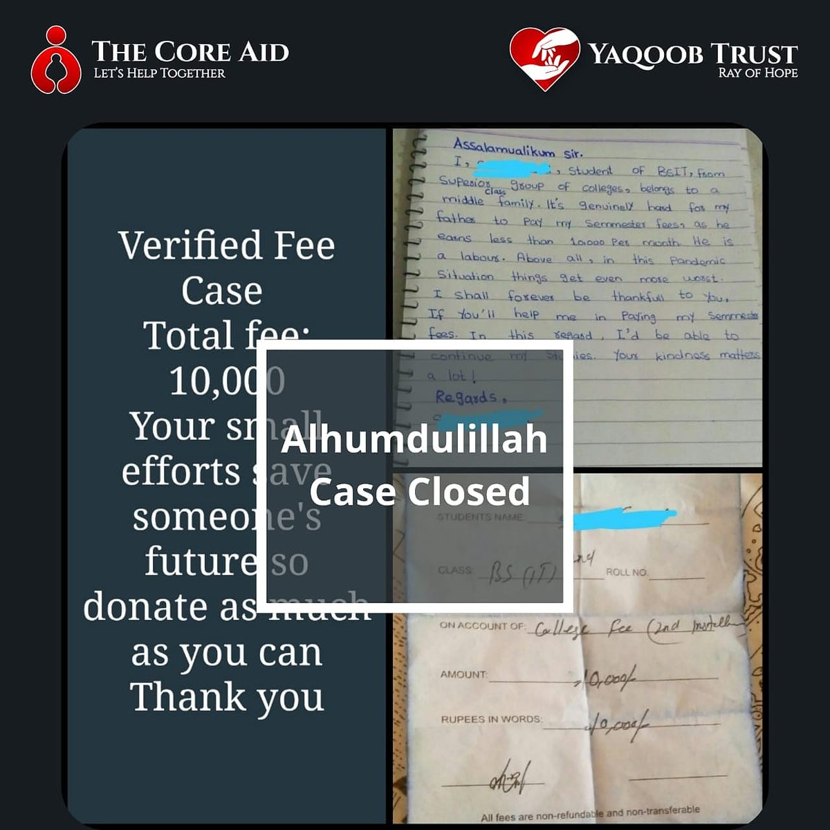 Alhumdulillah, successfully solved the case with the help of our precious donors and other prestigious organizations.♥️  Looking forward towards many more and also the help of you people ✨🇵🇰  #TheCoreAid #YaqoobTrust #TCA_YT #Needyourhelp #help #helppoor #donate #share