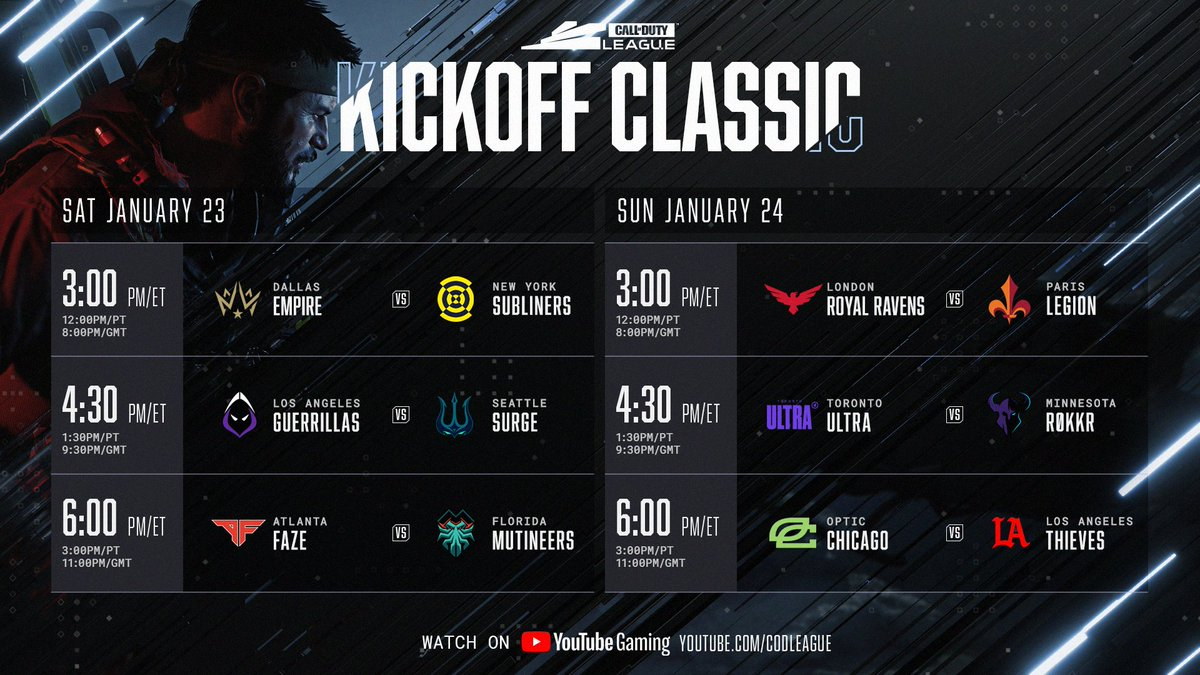 Your first taste of #CDL2021 comes this weekend with the Kickoff Classic!  ⚔️ Fan-voted show matches 🆎 Group selection show 1️⃣ Stage 1 schedule reveal 🗓 2021 season schedule reveal  Set your reminders now at