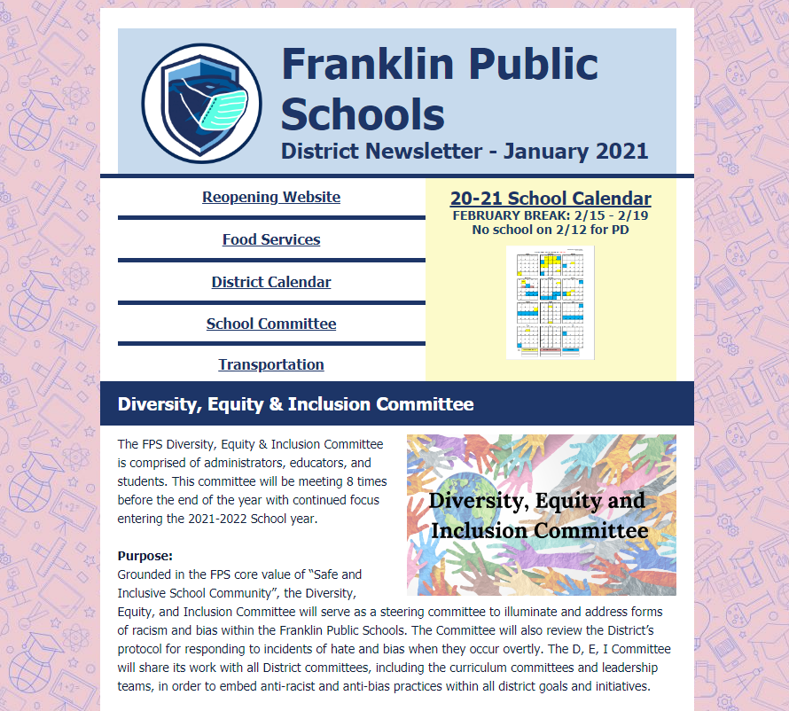 Franklin Public Schools: District Newsletter - January 2021