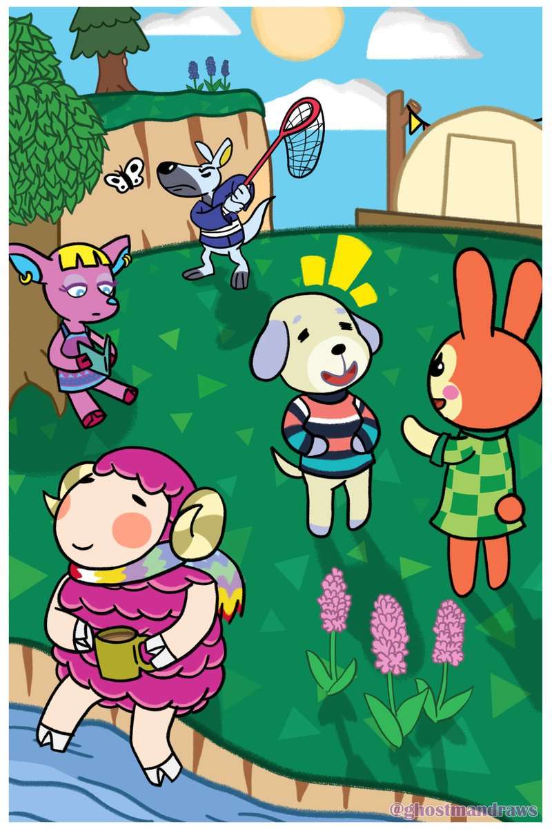 a christmas present for my gf featuring many of her favorite villagers #AnimalCrossing #drawing