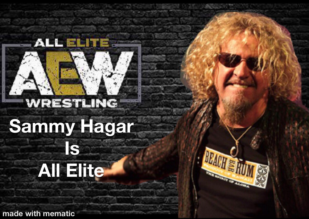 When one of your all time biggest influences as a vocalist shows up on my favorite wrestling show! Thank you @IAmJericho @The_MJF @sammyguevara @RealJakeHager @sammyhagar #AEWDynamite #sammyhagar