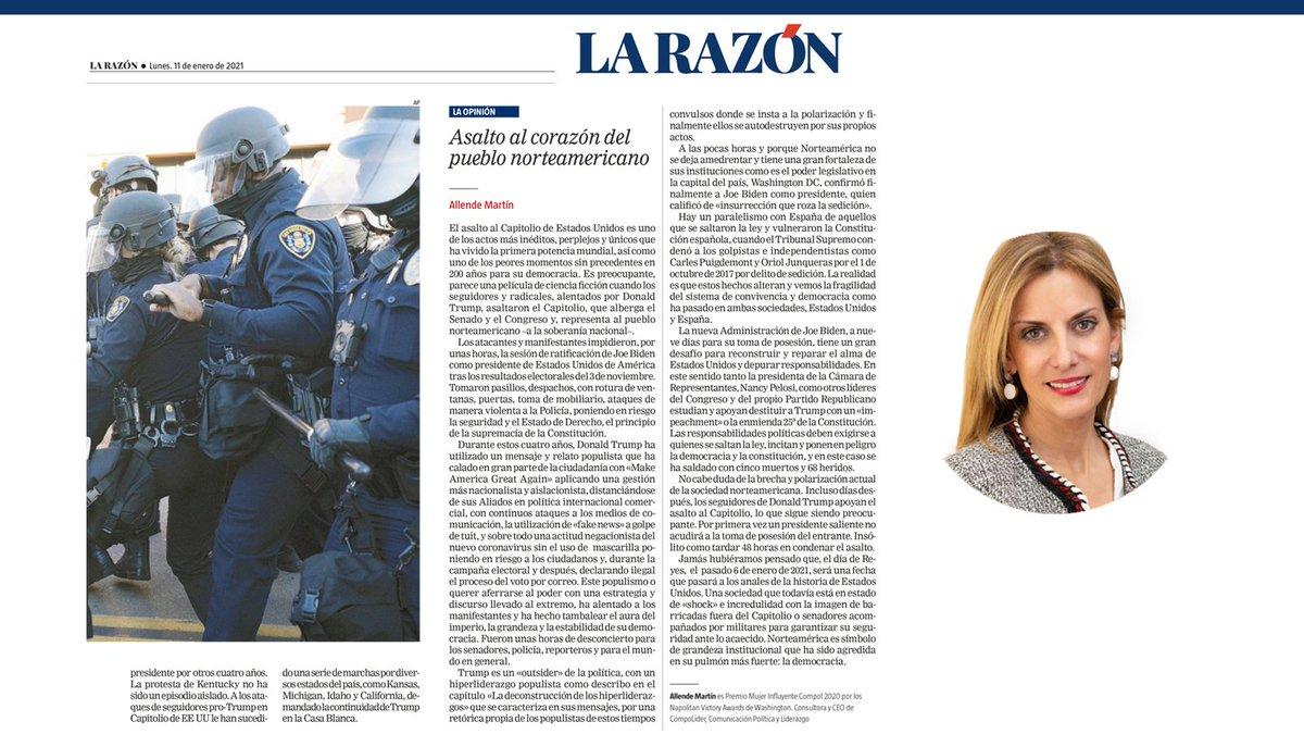 """📰Mi análisis de la columna en el periódico @larazon_es  """"Asalto al corazón del pueblo norteamericano"""" 🇺🇸   🗓11/01/2020  #Compol #AsaltoCapitolio #CapitolioEEUU #Trump #DemocraciaEEUU #USA🇺🇸  #Populismos #Polarización #AllendeMartín #usacapitol"""