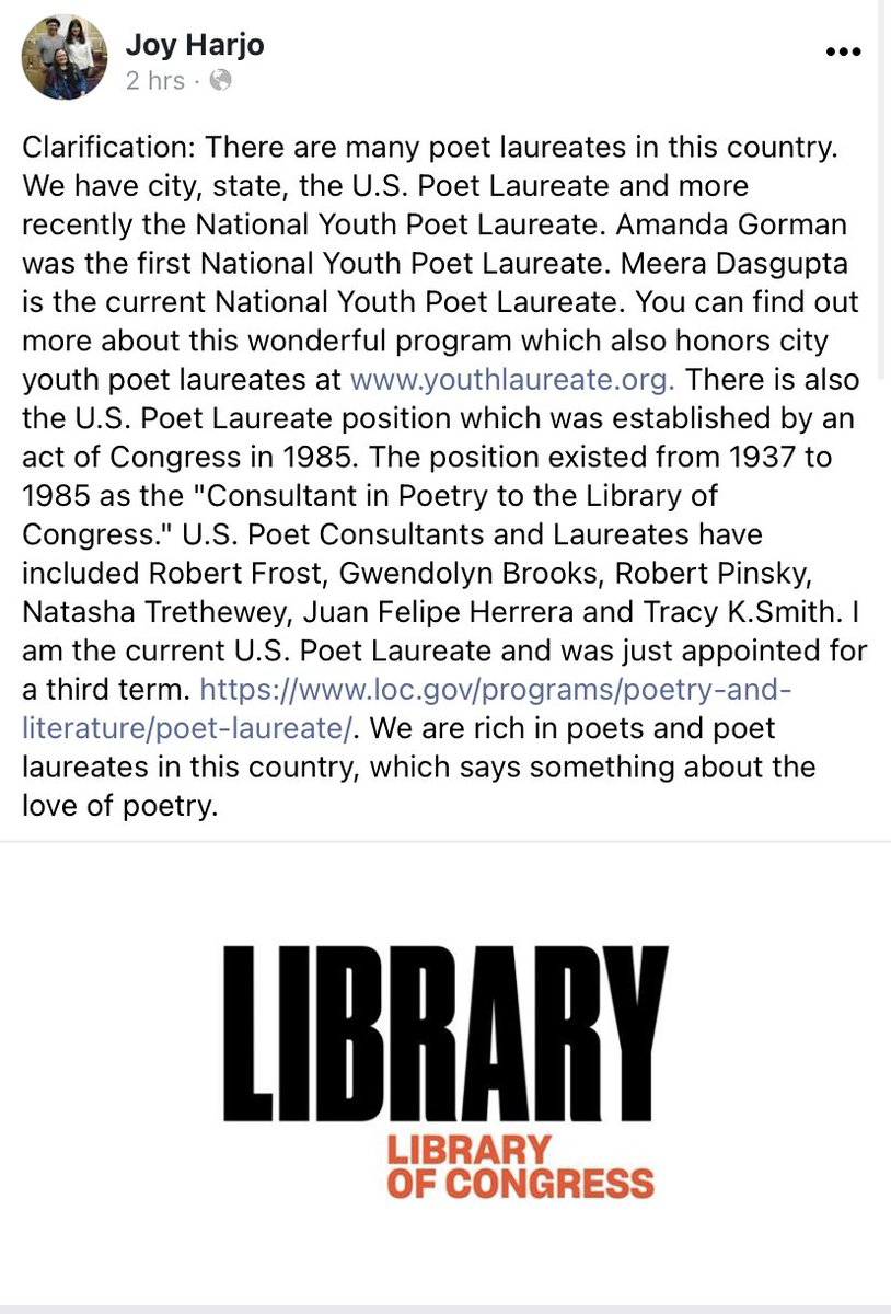 For news outlets, here is a necessary clarification about poet laureates by incredible US Poet Laureate @JoyHarjo . I am not the only one, nor the last