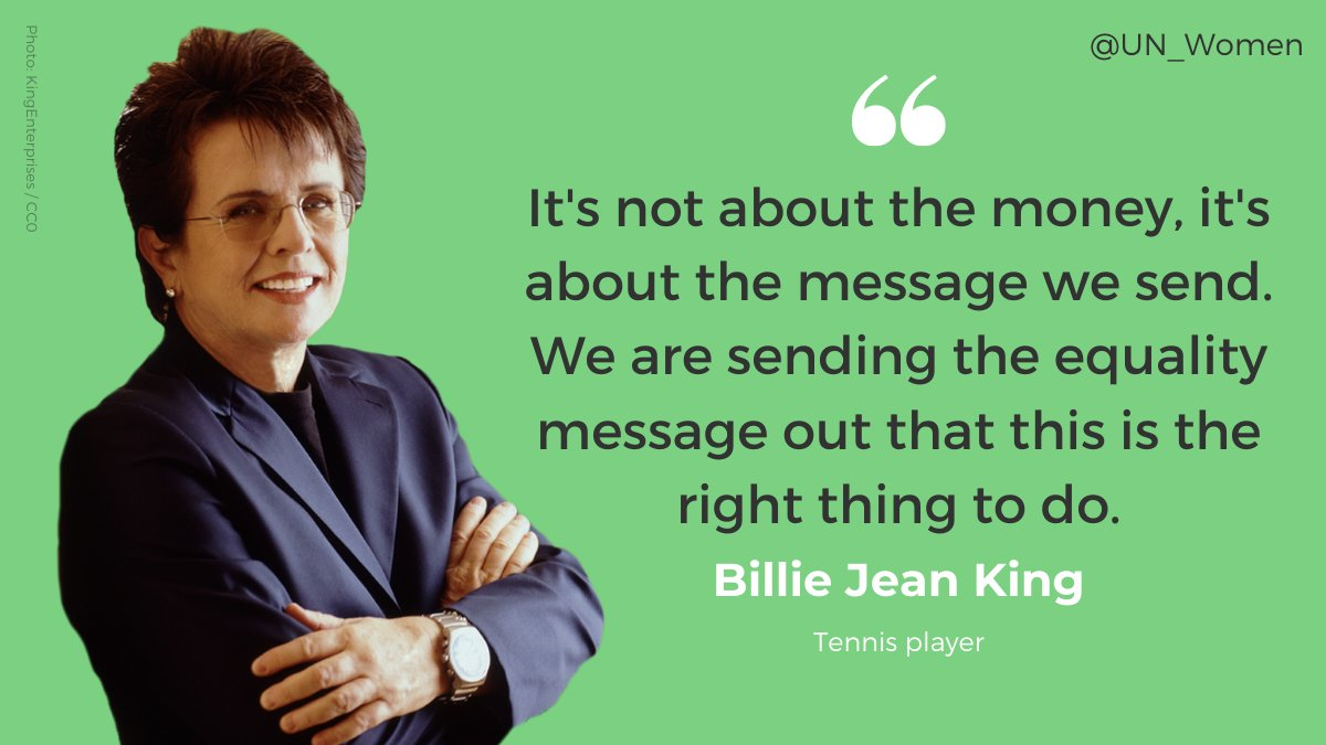 It's about the message. It's about what's right. It's about the equal future we want.  🎤 @BillieJeanKing