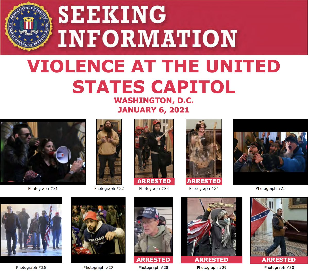 Keep the tips coming! The #FBI has arrested multiple people in connection with the violence at the U.S. Capitol on January 6. Help us identify more individuals at . If you see someone familiar, submit a tip at .