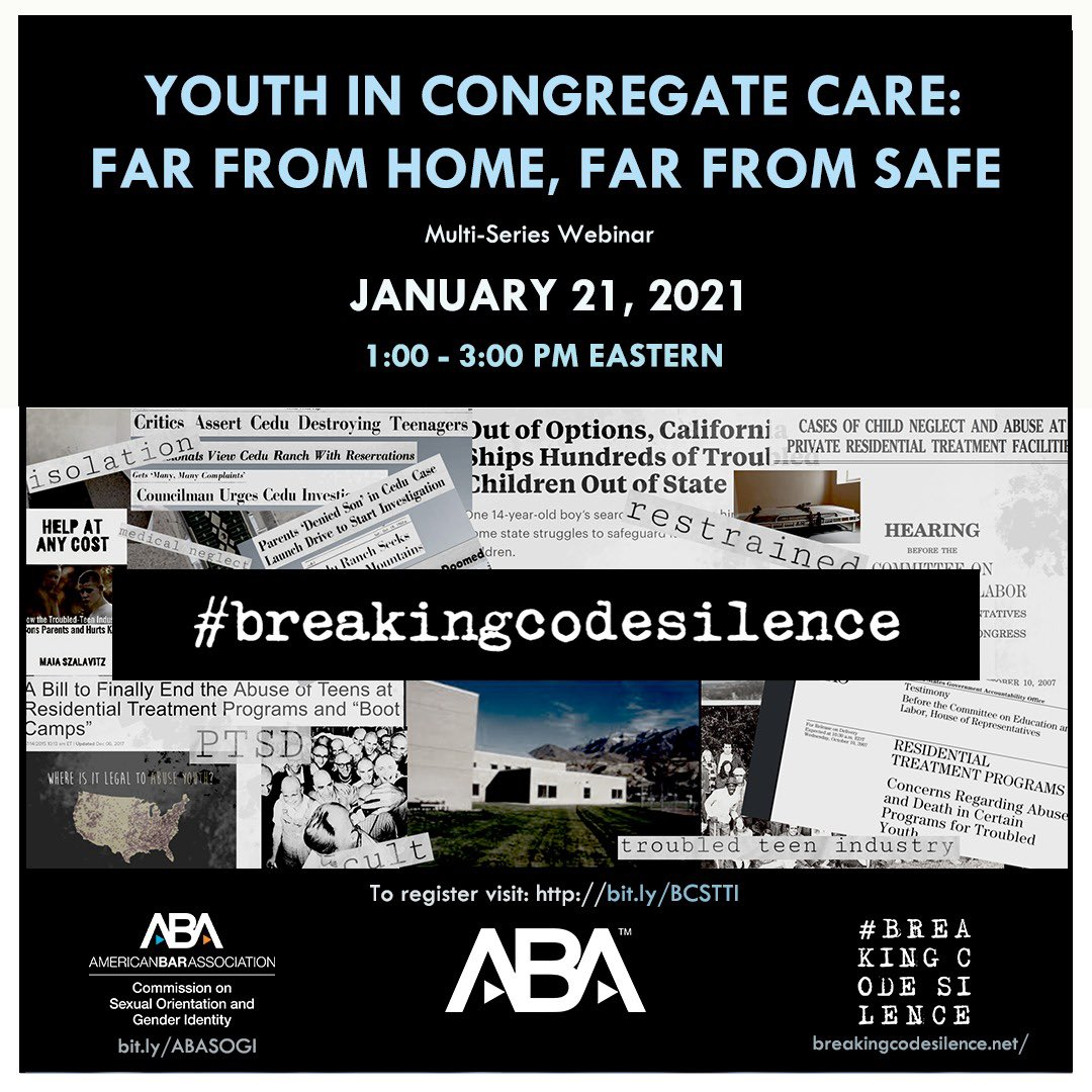 About to speak at the @ABAesq & @BreakingCodeSilence Webinar in 15 mins! Click link in bio to hear me, @SenSaraGelser, Jen Robison, Caroline Larson, @MishaOsherovich & more shed light on current initiatives & survivor stories in the troubled teen industry.