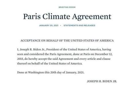 America is back to the Paris climate agreement! Hope Mr. President will pay heed to science and take immediate climate action!   Thank you, take love & respect from Bangladesh.  #ParisAgreement #Biden #NoMoreEmptyPromises #FightFor1Point5  #SaveFutureBangladesh #ClimateEmergency https://t.co/XMGDMlgPlg
