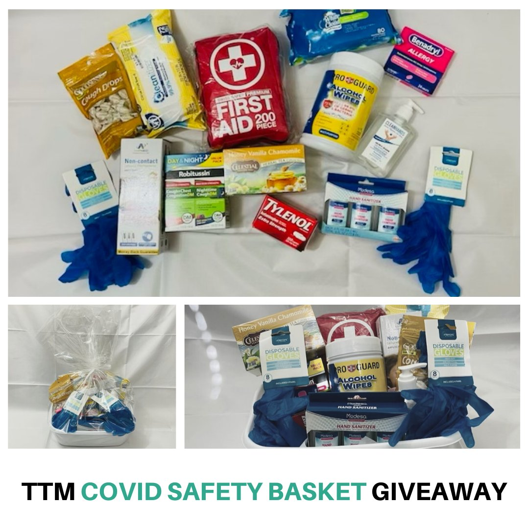 Have you entered our TTM Covid Safety Basket?  💚 . The value of this basket is $110 and includes: thermometer, cough syrup, cough drops, tylenol, benadryl, first aid kit, gloves, masks, sanitizer, wipes, and tea. 💊🍵 . . .  #volunteer  #nonprofit  #philanthropy  #donate