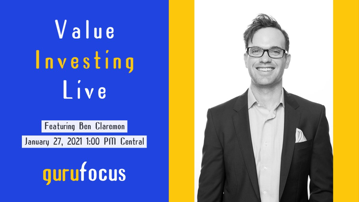 Join us next week for Value Investing Live featuring Ben Claremon! Register for free here:  Watch the live stream on January 27:  #Guru #GuruFocus #stocks #investing #valueinvesting #WarrenBuffett #strategy #value #management #wealth