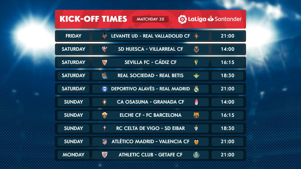 𝐌𝐎𝐑𝐄 𝐅𝐎𝐎𝐓𝐁𝐀𝐋𝐋! 😍  Matchday 20 of #LaLigaSantander starts tonight with #LevanteRealValladolid! 🍿  #YouHaveToLiveIt