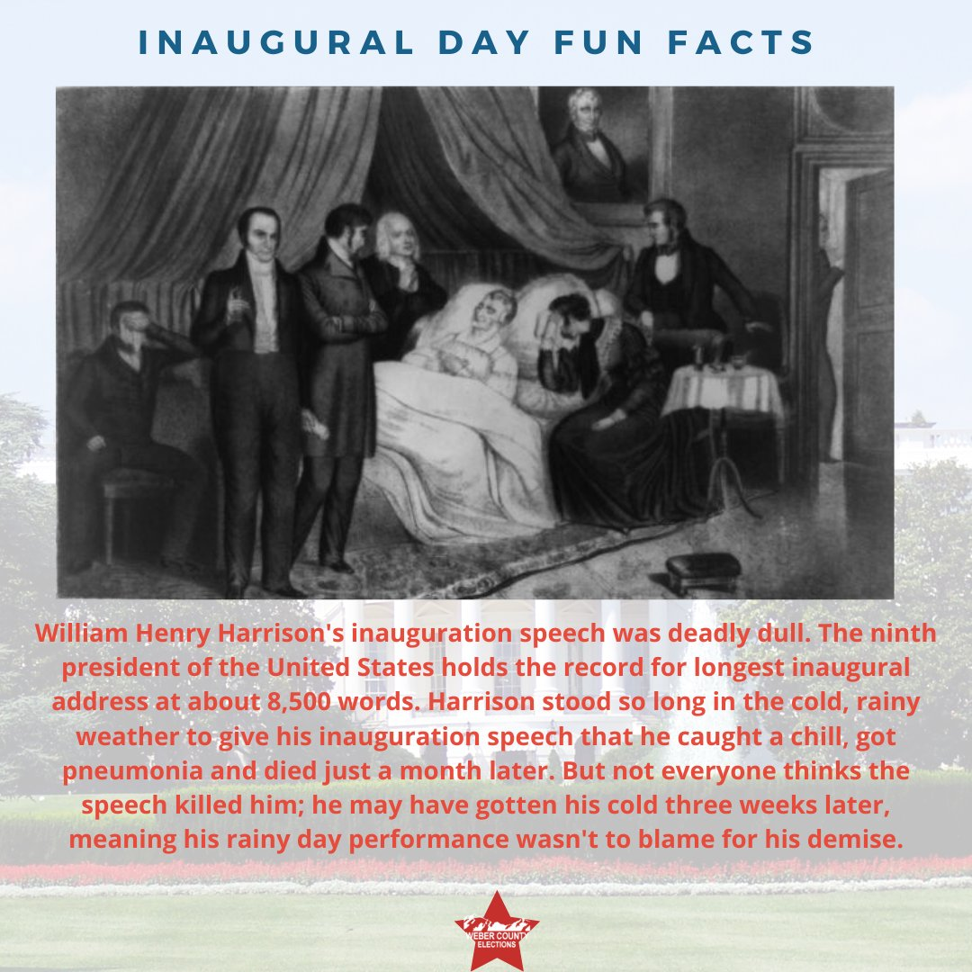 One president famously took too long on his speech, reportedly catching pneumonia from being in the cold and dying a month later, William Henry Harrison, became America's shortest term president, but still holds the record for the longest Inaugural Day Address. #throwbackthursday