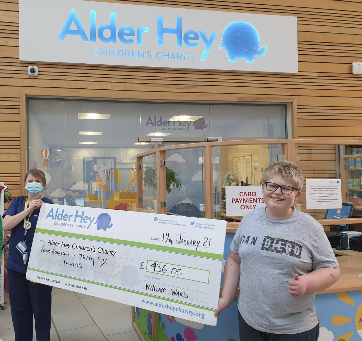 A huge thank you to William, who has raised over £400 for @AlderHeyCharity 💙 He walked a marathon in a month 🚶📆, an amazing achievement given that he has a condition called Prader-Willi syndrome, which means exercise is particularly difficult for him. Wonderful William 👏👏👏