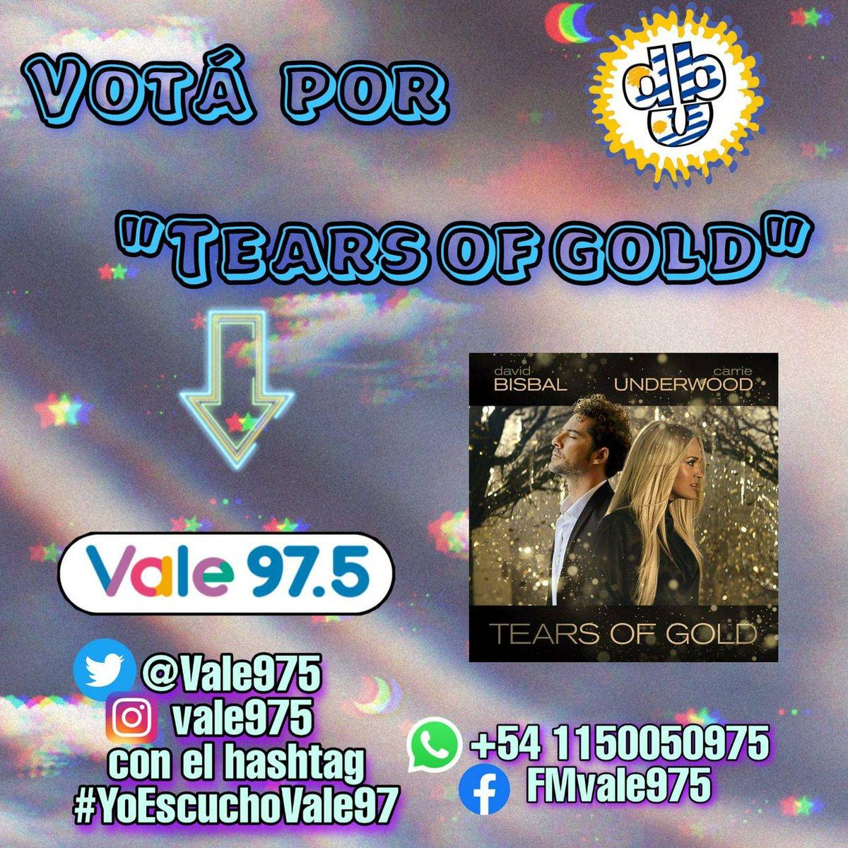 Dejamos nuestro voto en @vale975 para #TearsOfGold de @davidbisbal y @carrieunderwood  #rankingVale #YoEscuchoVale975  @UMArgentina @FCDavidBisbalUY #FCDavidBisbalUruguay
