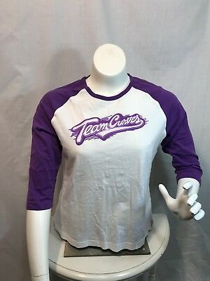Team Curves for Women Raglan Shirt in Purple & White Cotton - Available on #eBay  #shopsmall #HodgePodgePam #ROCteam #ebayfinds #TeamCurves #Curves #NewYearNewYou #Exercise #Fitness #Womenswear #womensfashion #Purple