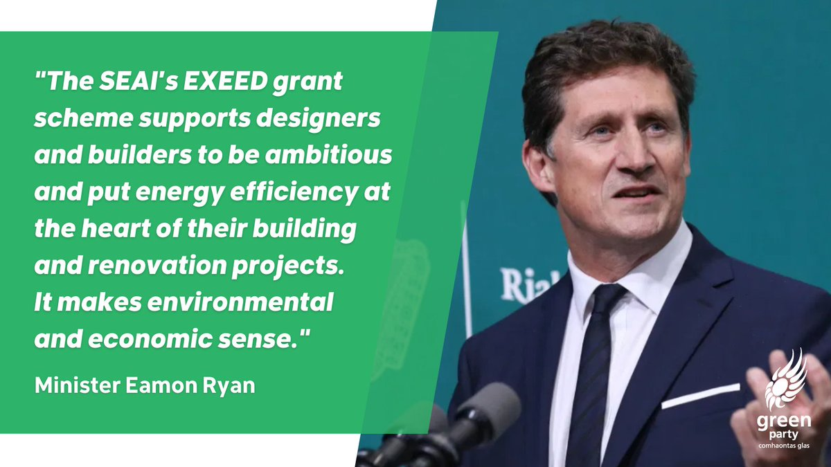 €14 million in government grants has been made available under the @SEAI_ie EXEED scheme to help businesses build or renovate to reduce costs & become more energy efficient. 🏗️ Organisations striving for Excellence in Energy Efficient Design can apply at