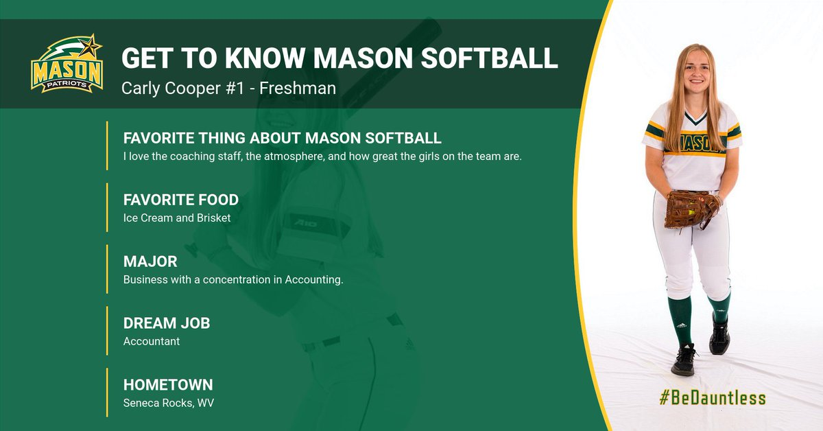 We're wrapping up our first week of practice, so it's time to get to know our incredible athletes 🥎💪 @carlyycooper14 #BeDauntless #MasonSoftball #Family