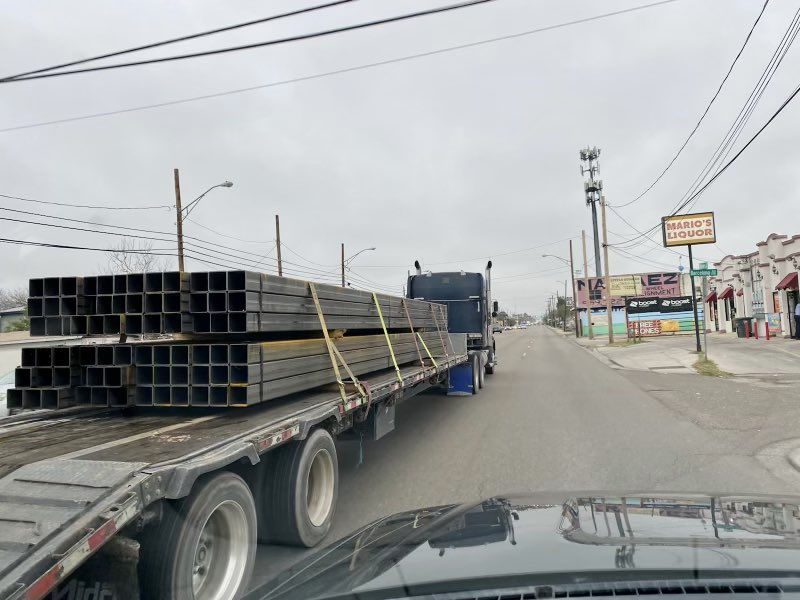 ALERT: #BorderWall bollards are still being shipped into Laredo this morning. Not sure these crews got the memo. I'm printing out copies of the @POTUS EO to bring down to wall construction sites today. Not another foot of wall should be built through our beautiful border region.