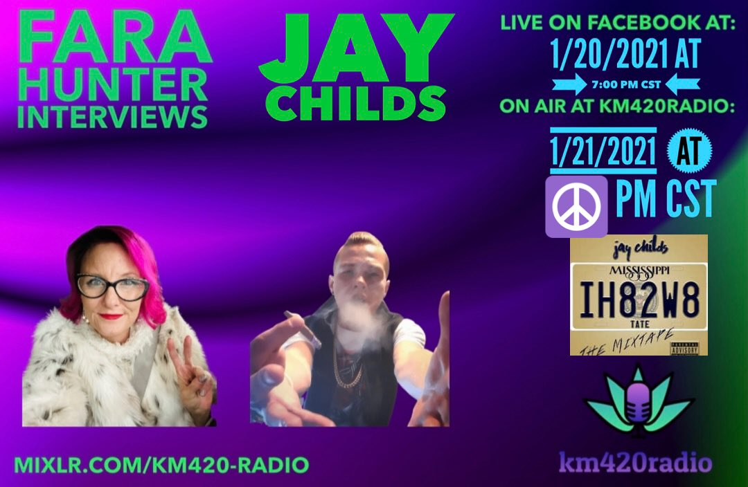 Broadcasting this bad ass interview with Jay Childs 🔥🎶🔥 🔥🔥 Today at noon and 6:00 PM CST 🔥🔥 Check out his raps and profiles 🔥🔥    #jaychilds100    Please follow and subscribe and ring the bell 🔔  @GanjaGrrl