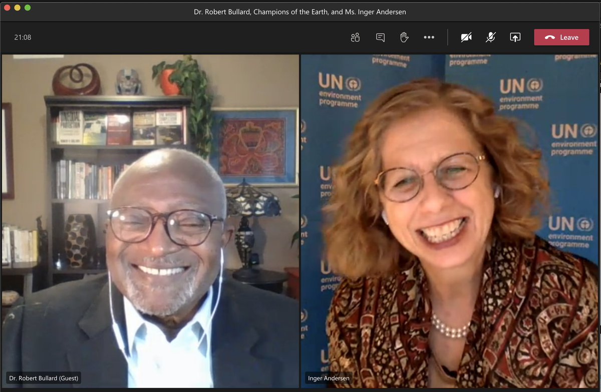 A real honor to speak with the inspiring @DrBobBullard, @UN Champion of the Earth -  Lifetime Achievement Award recipient for 2020. Discussed environmental racism and justice, and the power of youth. #ClimateAction #ForNature #EarthChamps