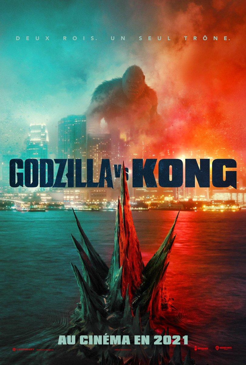 Affiche teaser VF pour #GodzillaVSKong d'Adam Wingard, un temps attendu dans les salles obscures hexagonales pour le 17 mars prochain (et désormais simplement annoncé pour 2021). Première bande annonce dimanche !