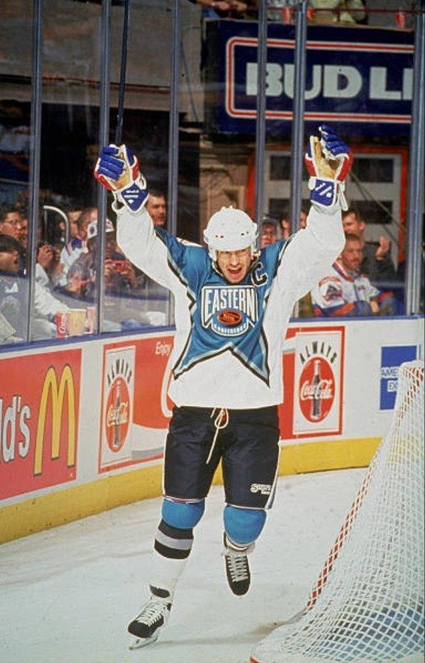 Mark Messier of the New York Rangers celebrates scoring a goal at the 1994 NHL All Star Game, held at Madison Square Garden in New York. #MarkMessier #NYR #NewYork #Rangers #hockey #AllStarGame #MSG