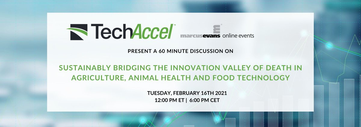 Leading a discussion on Sustainably Bridging the #Innovation Valley of Death in #AgTech #AnimalHealth #FoodTech w/ @marcusevans Feb. 16, 11a CST Join us: